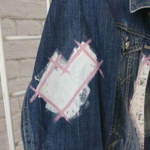 Reckless Resale Jackets & Coats - Graffiti Heart Hand Painted Crop Denim Jacket